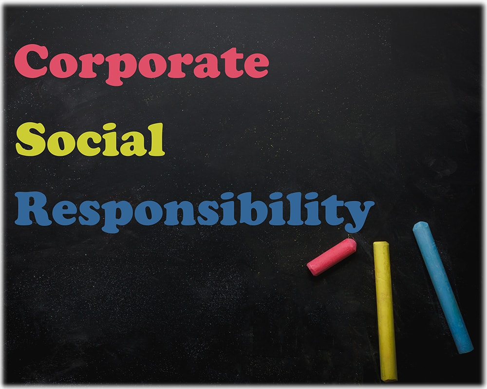 Black board depicting the text Corporate Social Responsibility