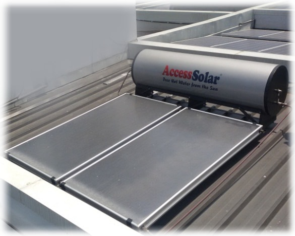 solar water heater absorption panels and tank