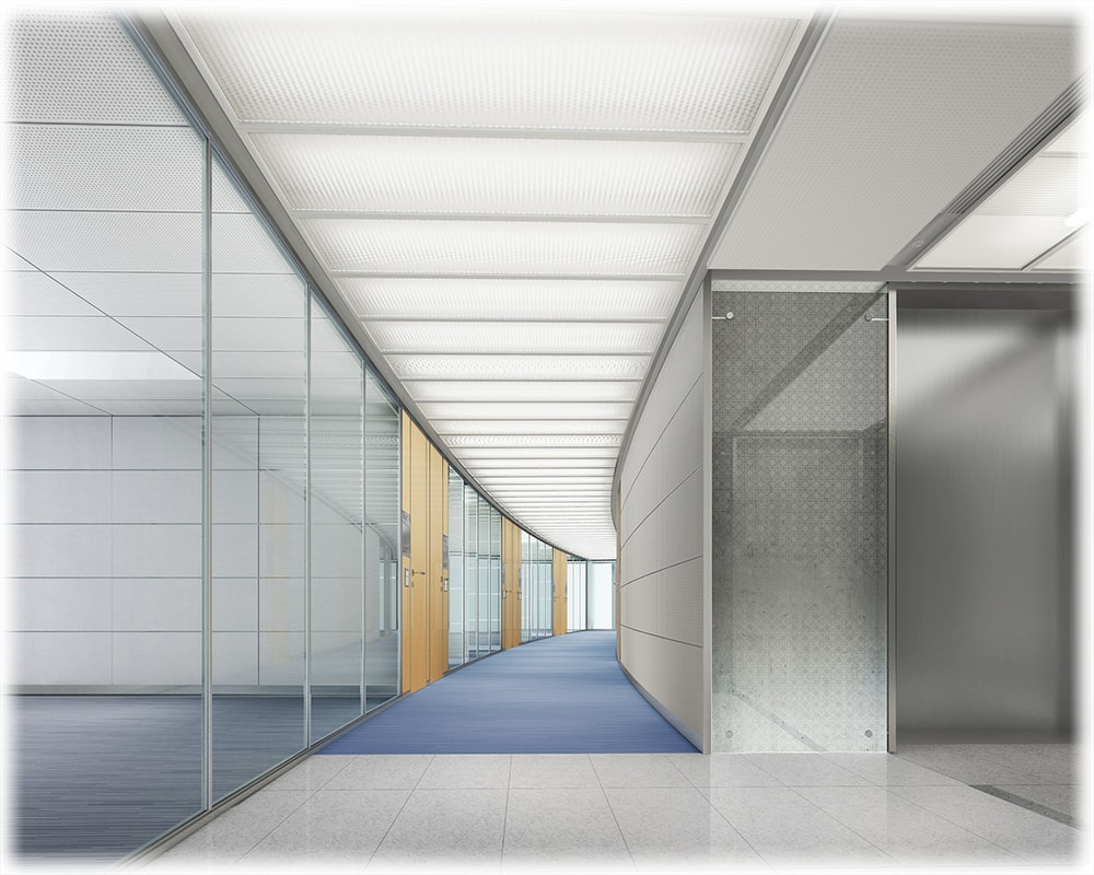 office building corridor  with bright fluorescent lights